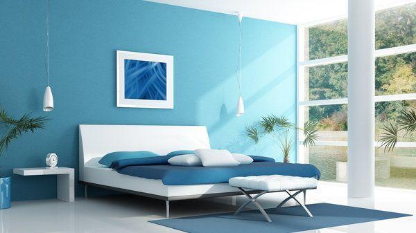 blue bedroom in a lake house – rendering