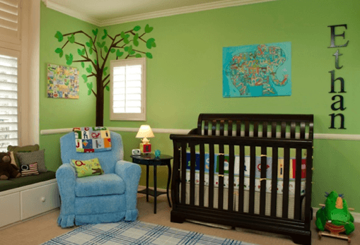 Cuarto-de-bebe-recien-nacido-verde