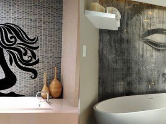 vinilos baños y fotomural en pared de baño