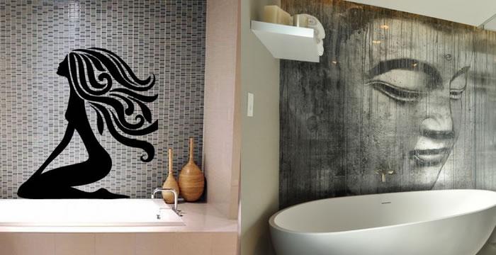 Decoraci n de paredes en ba os y aseos decoracion de ba os for Vinilos adhesivos para paredes de banos
