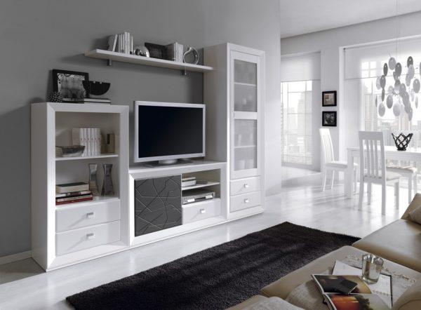 Muebles polque decoraci n para el sal n decoracion de salones - Mueble salon blanco y gris ...